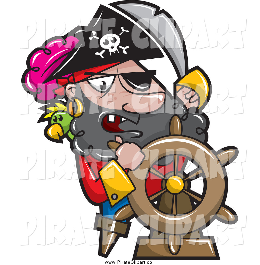 1024x1044 Vector Clip Art Of A Pirate Captain Steering A Ships Helm By