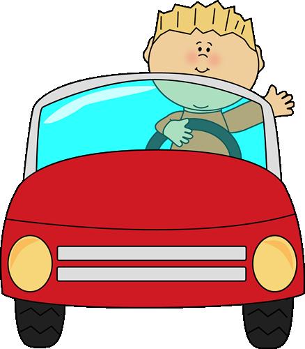 438x500 Boy Driving A Car And Waving. Transportation Clip Art
