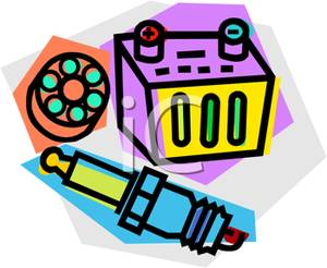 300x246 Free Clipart Image A Spark Plug And A Car Battery