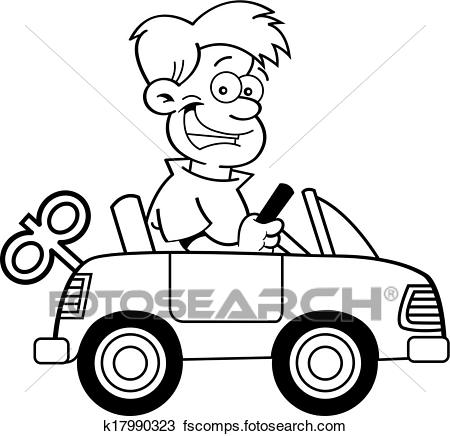450x436 Clipart of Cartoon boy with a toy car. k17990323