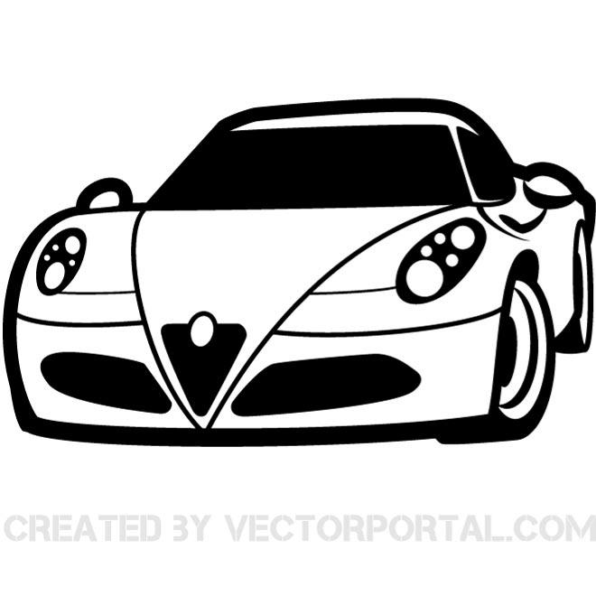 660x660 Ferarri clipart black and white