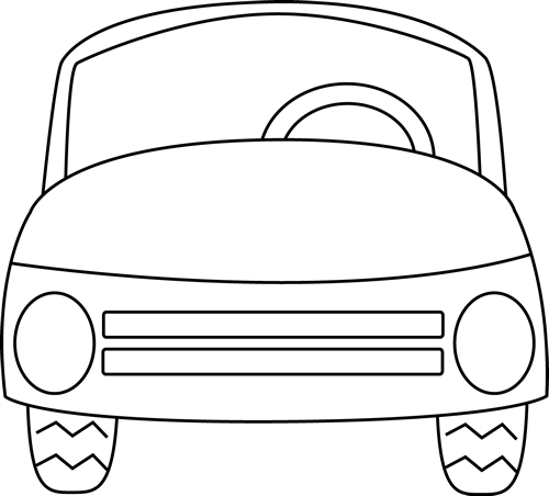 500x452 Black And White Car Clip Art