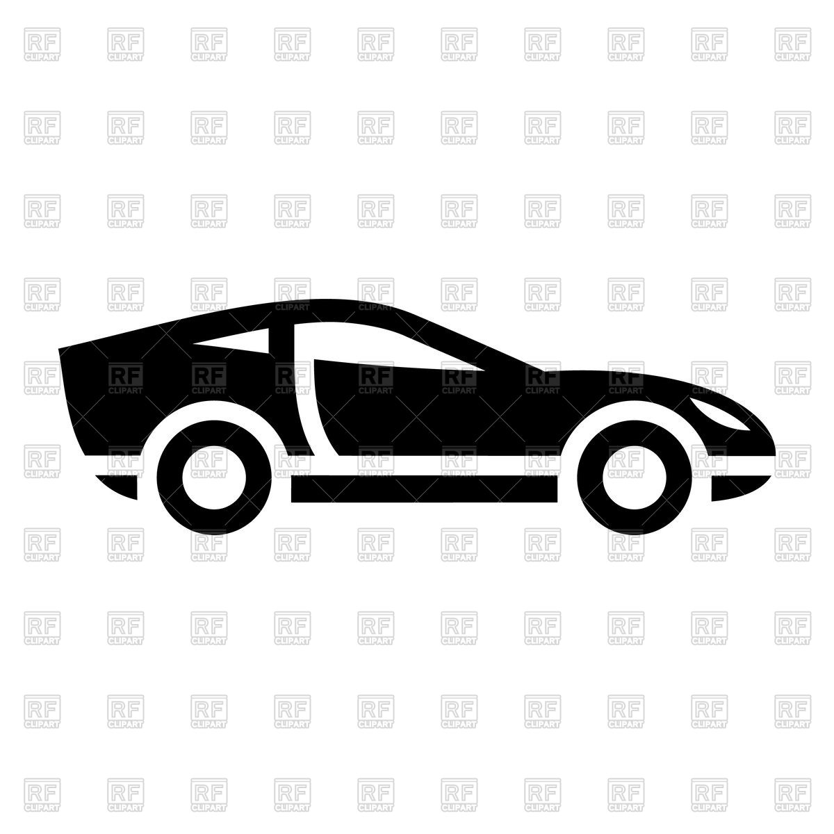 1200x1200 Black icon of sport car on white background Royalty Free Vector