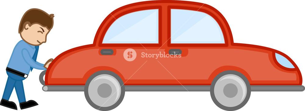 1000x365 Pushing Car Cartoon Vector Royalty Free Stock Image