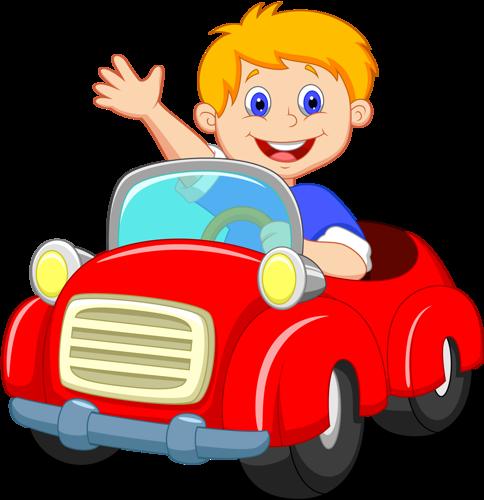 484x500 Boy Driving Red Car Clip Art