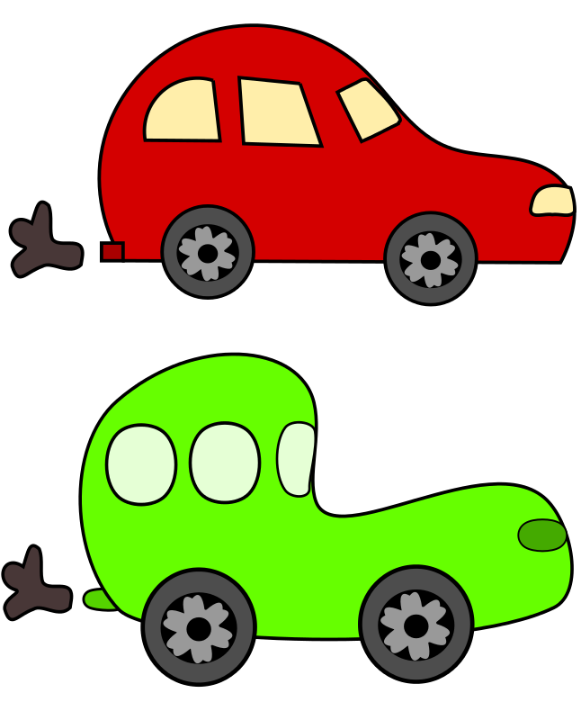 646x800 Free Clipart Cartoon Green And Red Cars Loveandread