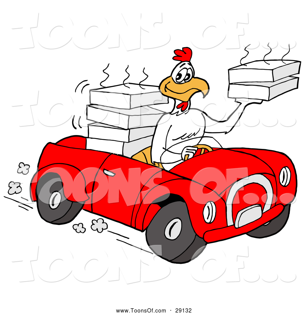 1024x1044 Cartoon Of A Food Delivery Chicken Driving A Convertible Car By