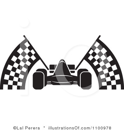 400x420 Black And White Race Car Clipart