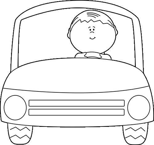 500x471 Black And White Kid Driving A Car Clip Art