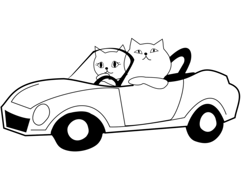 480x339 Cat Drives A Car Coloring Page Free Printable Coloring Pages