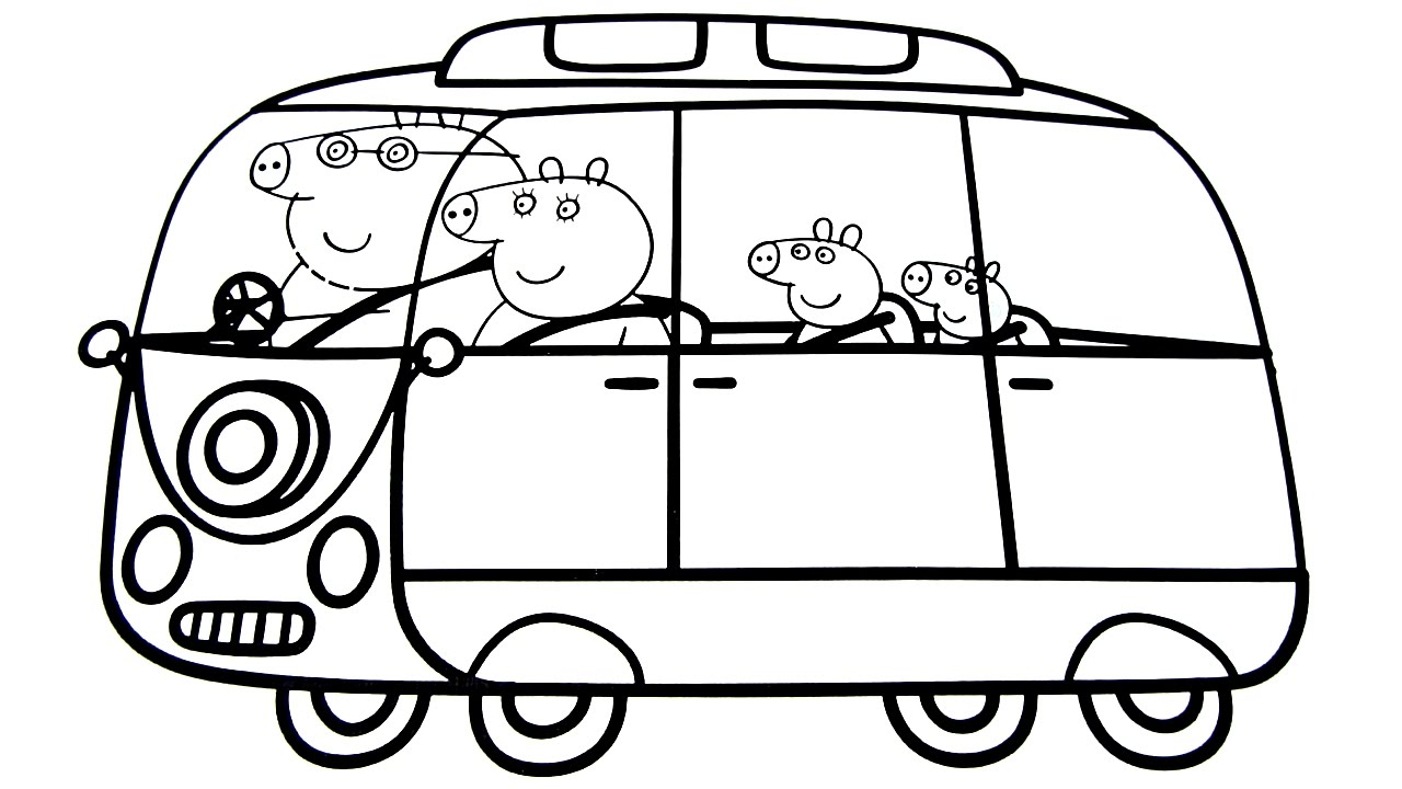1280x720 Peppa Pig Family In New Car Coloring Book Coloring Pages