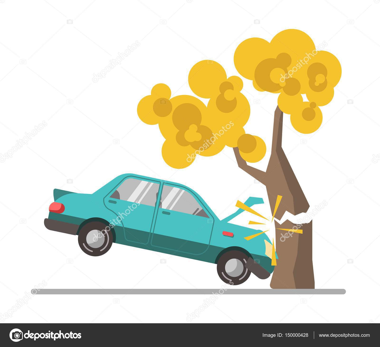 1600x1462 Car Crash Accident In Tree Stock Vector Sonulkaster