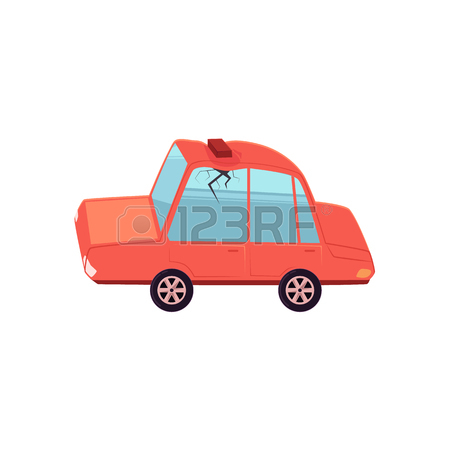 450x450 Vector Flat Cartoon Car Character Saying Ooh With Brick Fallen