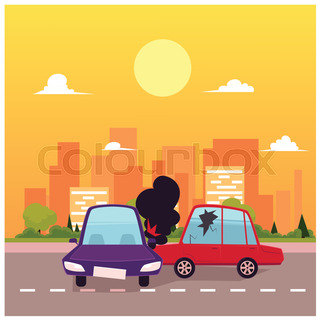 320x320 Vector Flat Cartoon Car Crash, Pedestrian Accident Set. Two