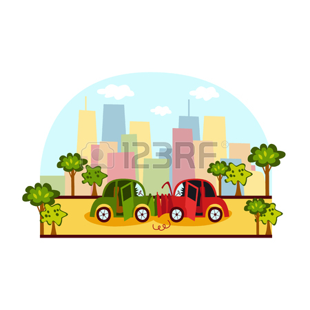 450x450 Car Accident, Side Collision On City Street, Colorful Cartoon