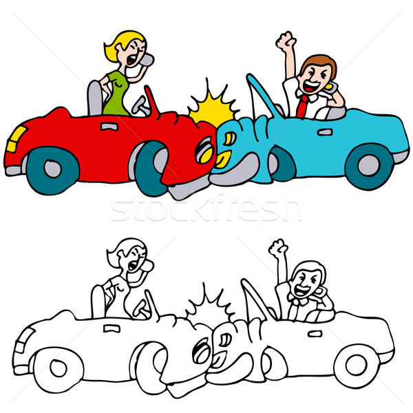 600x600 People Car Crash While Using Cell Phones Vector Illustration