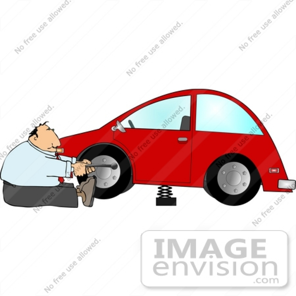 1024x1024 Middle Aged Caucasian Man Changing A Tire On His Car Clipart