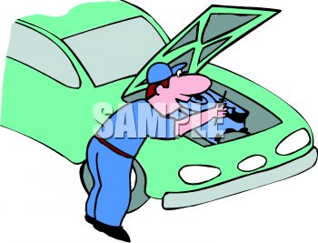 350x267 Cartoon Of A Mechanic Fixing A Car Engine