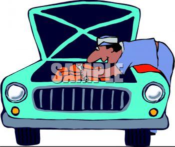 350x295 Cartoon Of A Mechanic Working On A Car