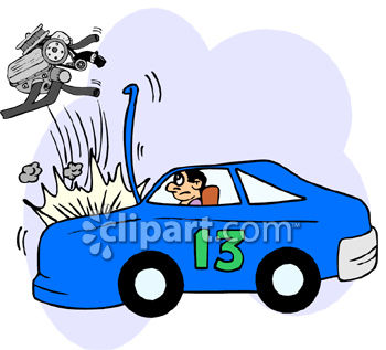 350x317 Clipart Picture Of The Engine Blowing Out Of A Race Car