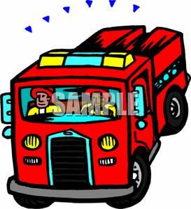 273x300 Firemen Driving A Fire Engine Clip Art Image