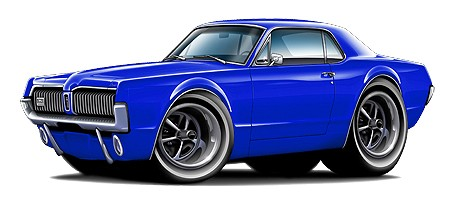450x207 Muscle Cars Cartoon Clipart Image