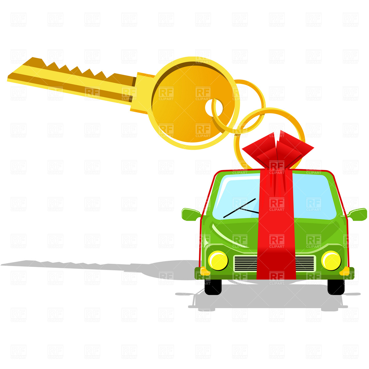 1200x1200 Brand New Car With Key And Ribbon Royalty Free Vector Clip Art