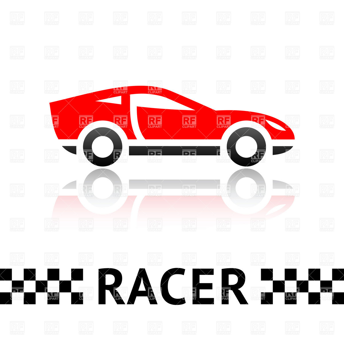 1200x1200 Symbolic Red Racing Car Emblem With Checkered Line Royalty Free