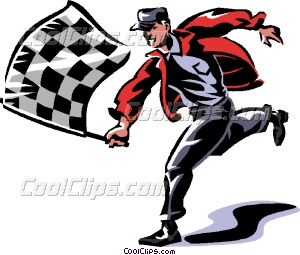 300x255 Man With A Checkered Flag Vector Clip Art