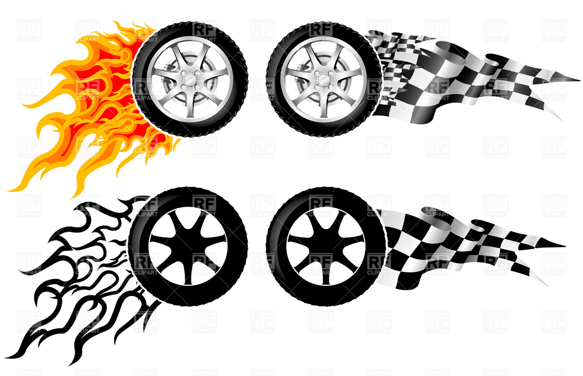 1200x775 Car Racing Emblem Wheel In Fire Royalty Free Vector Clip Art Image