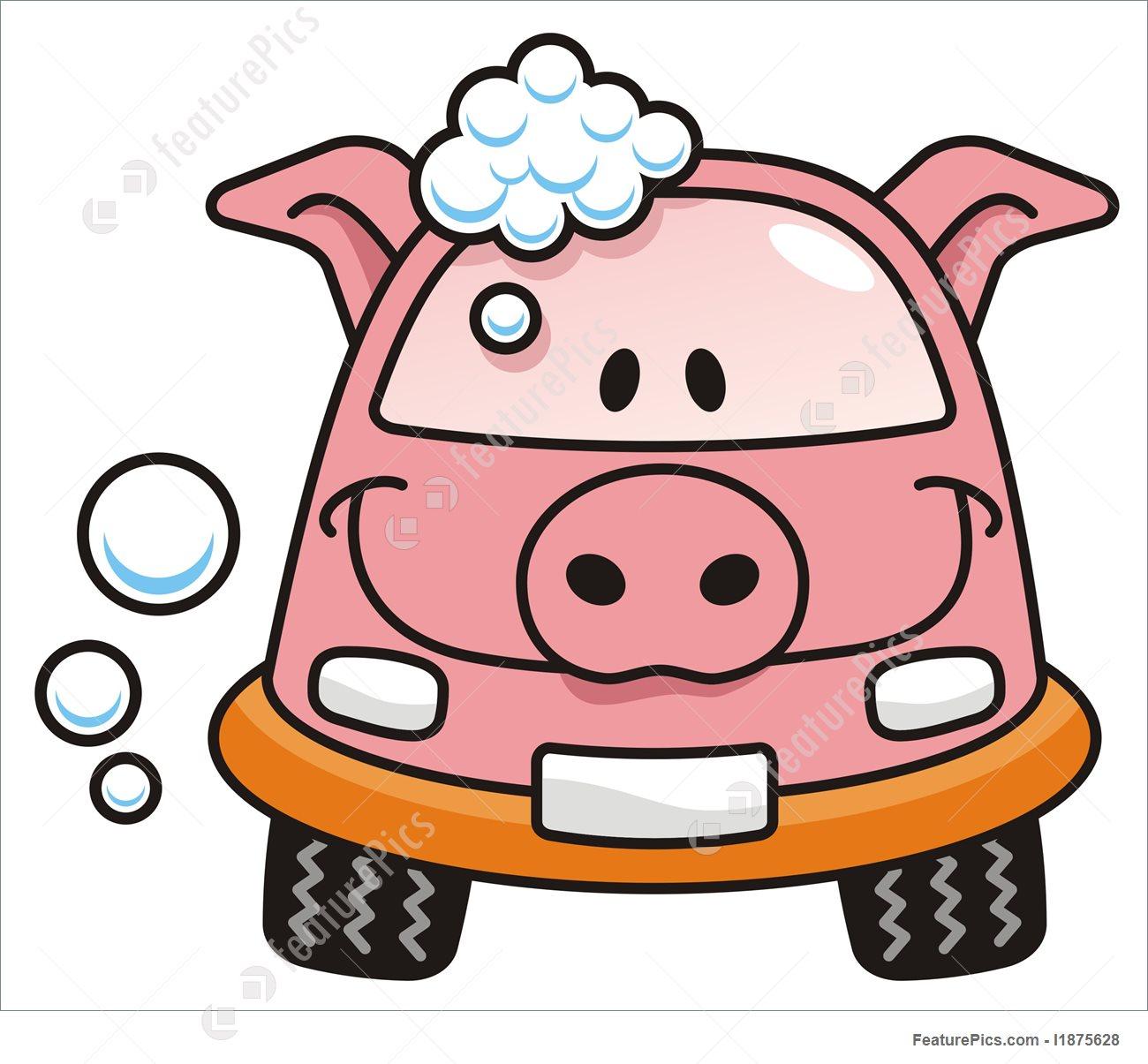 1300x1205 Car Wash Pig Illustration