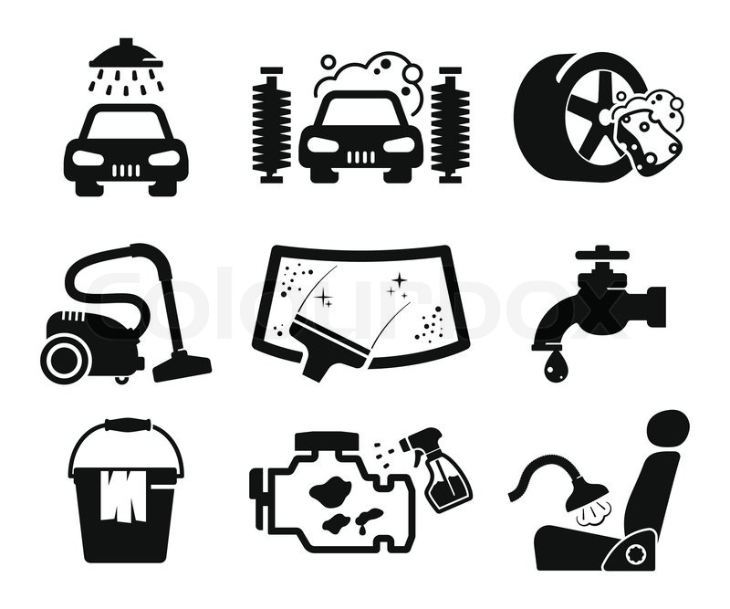 800x667 Car Wash And Car Service Icons Collection Stock Vector Colourbox