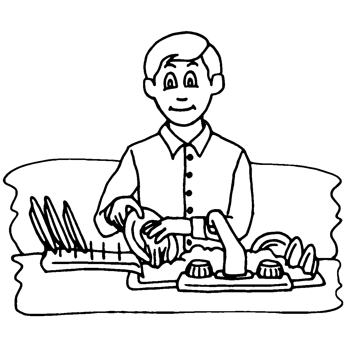 1200x1200 Washing Dishes Black And White Clipart