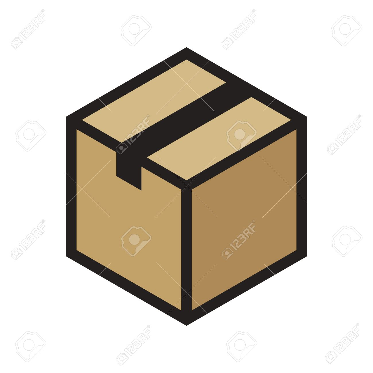 1300x1300 Isometric Cardboard Box Outline Colored Icon, Modern Minimal