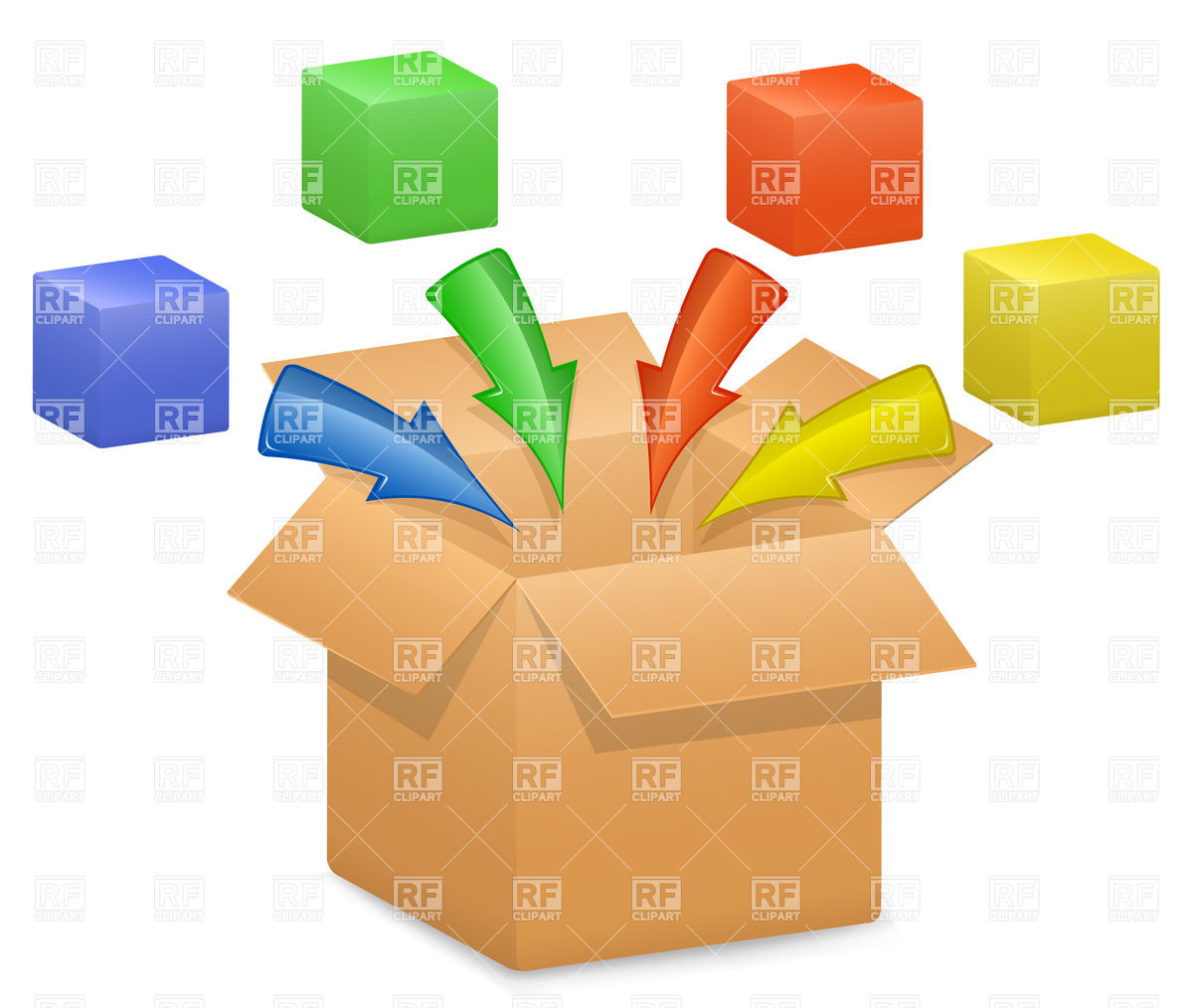 1200x1014 Cardboard Box And Color Arrows