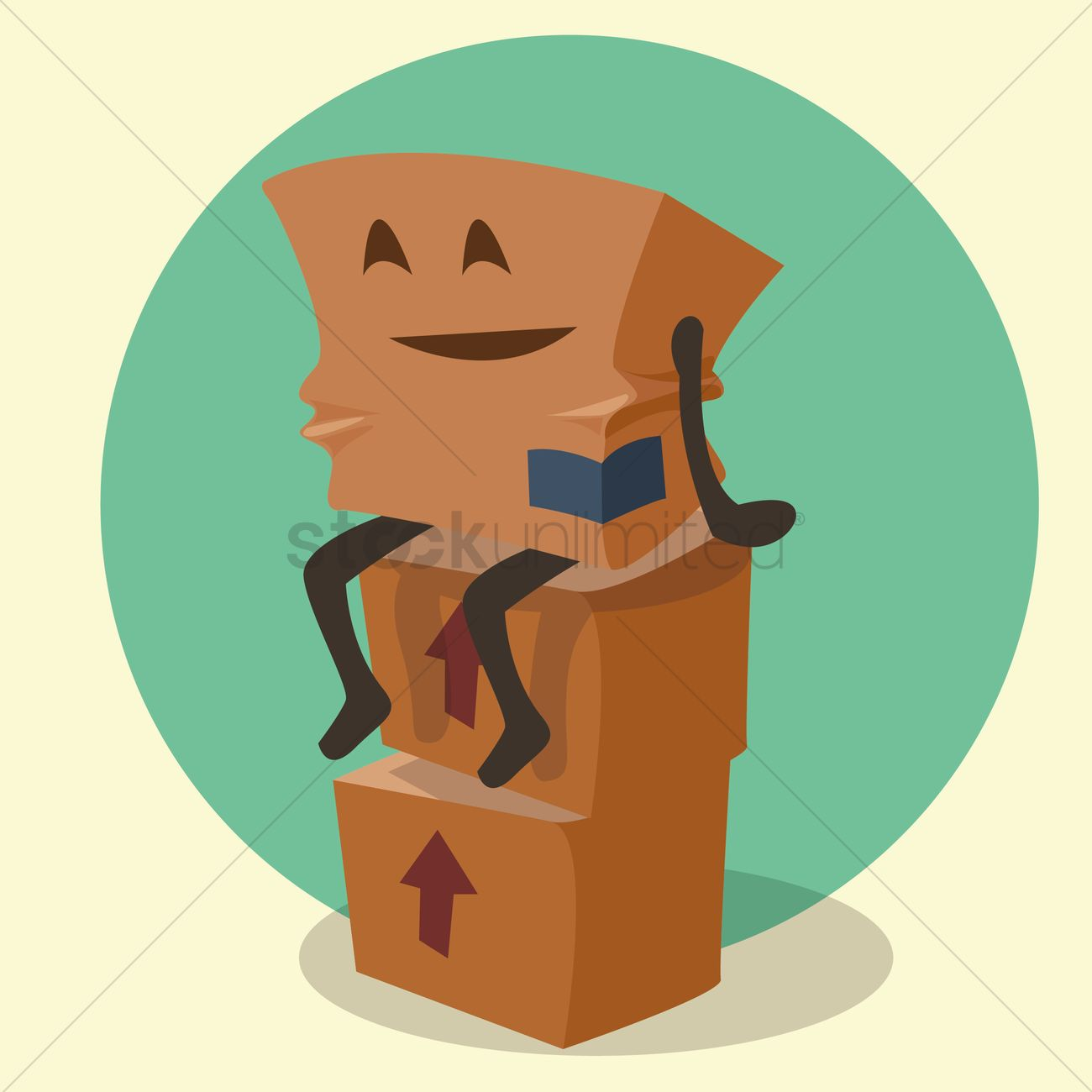 1300x1300 Cardboard Box Cartoon Sitting On Top Of Stacked Parcels Vector