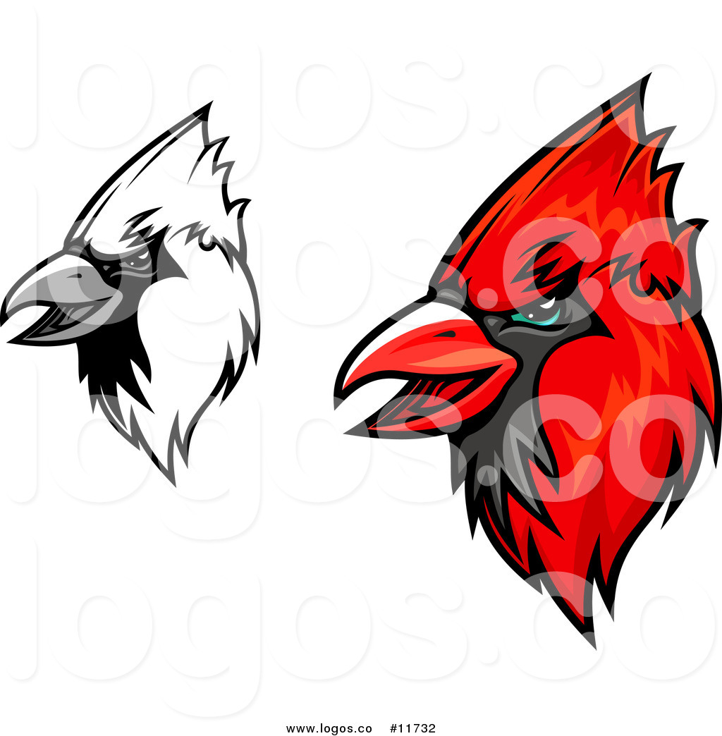 1024x1044 Royalty Free Vector Of Grayscale And Red Cardinal Mascot