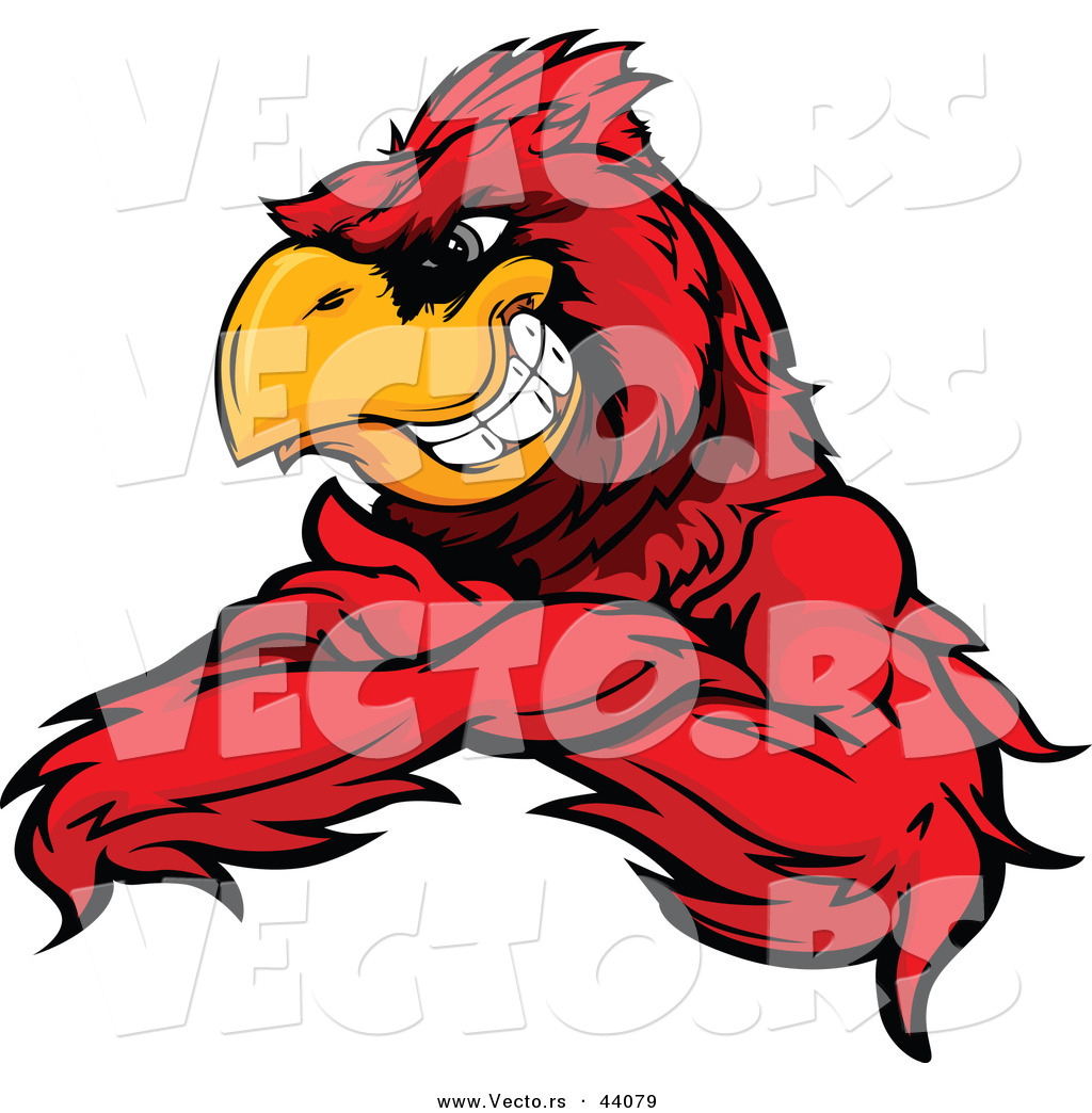 1024x1044 Vector Of A Grinning Cartoon Red Cardinal Bird Mascot With Arms