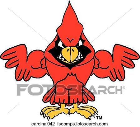 450x408 Clip Art Of Cardinal Flexing Muscles With Angry Face Cardinal042