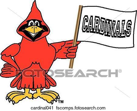 450x365 Clipart Of Cardinal Holding Team Flag Cardinal041