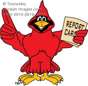 300x295 Cartoon Cardinal With A Good Report Card