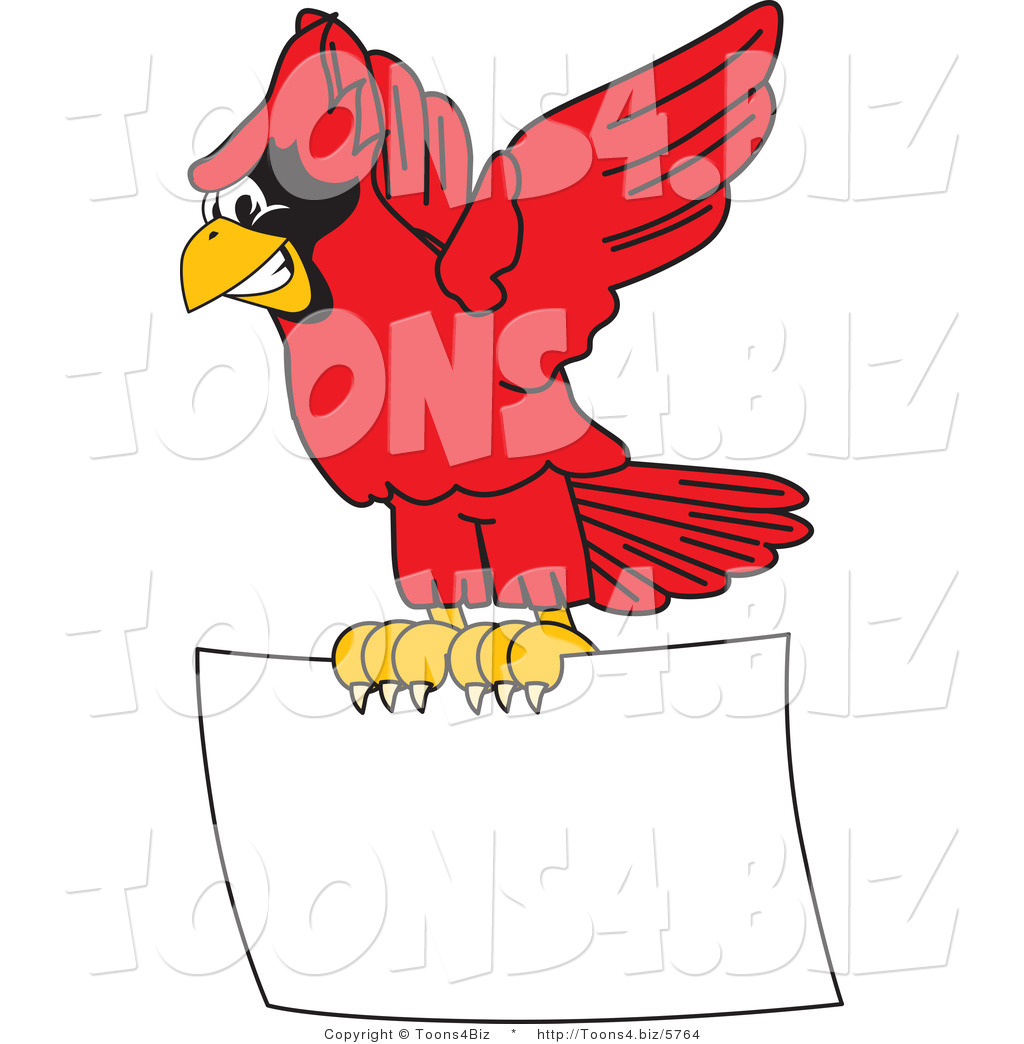 1024x1044 Vector Illustration Of A Cartoon Cardinal Mascot Flying A Blank