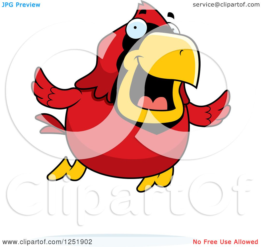 1080x1024 Clipart Of A Happy Red Cardinal Bird Flying