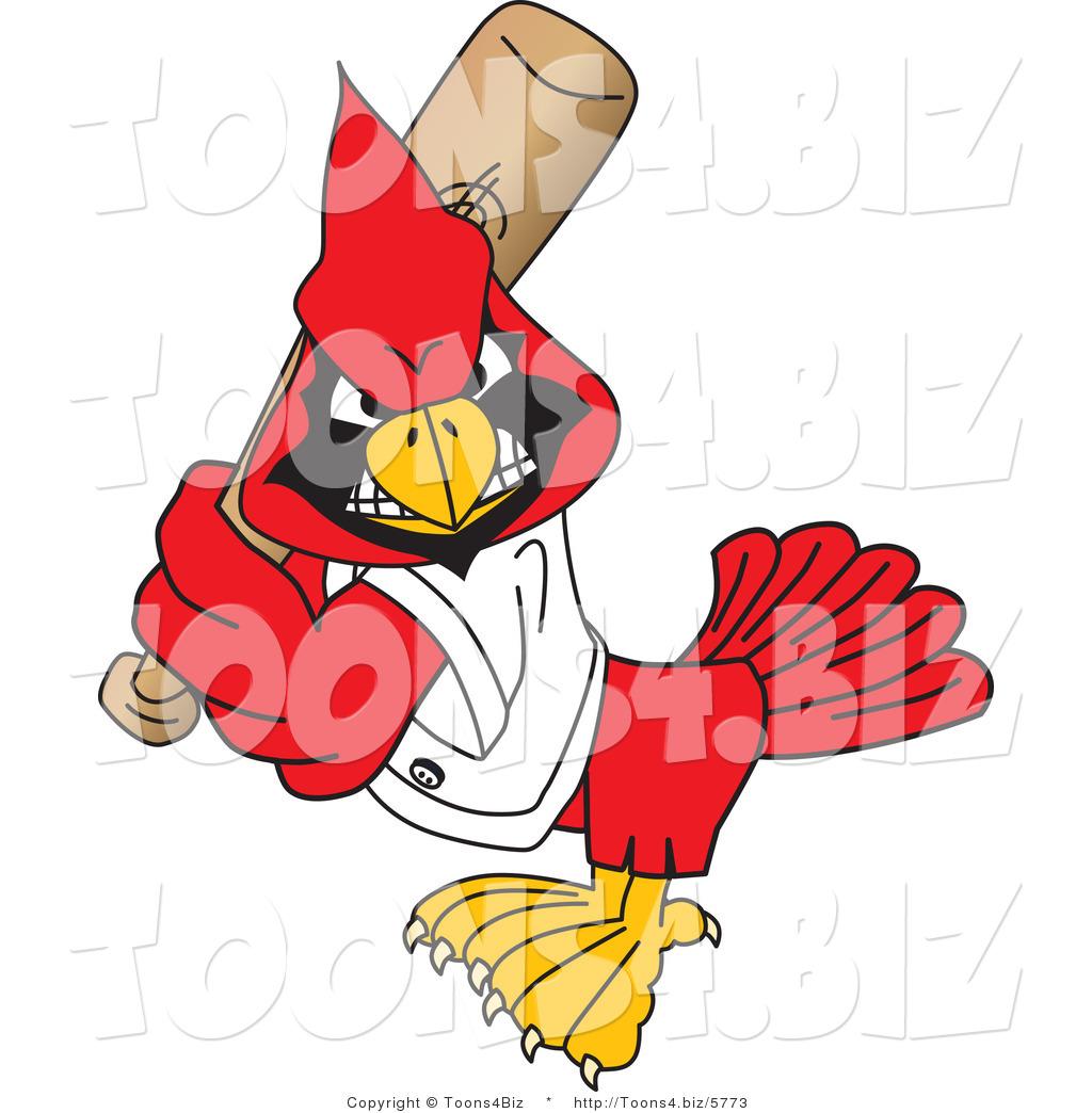 1024x1044 Vector Illustration Of A Cartoon Cardinal Mascot Playing Baseball