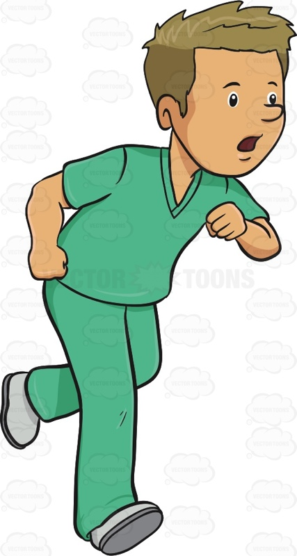 427x800 Man In Medical Scrubs Rushes In A Hurry Medical Scrubs