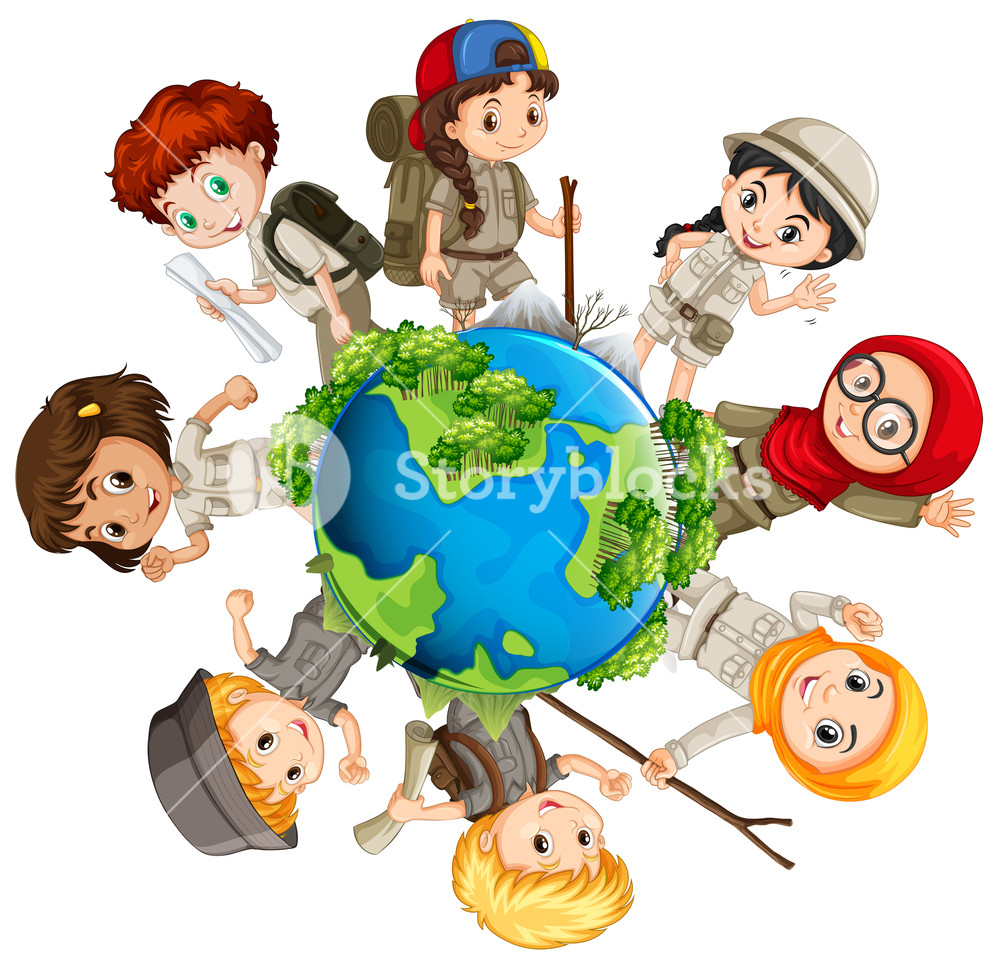 1000x963 Children Caring For The Earth Illustration Royalty Free Stock