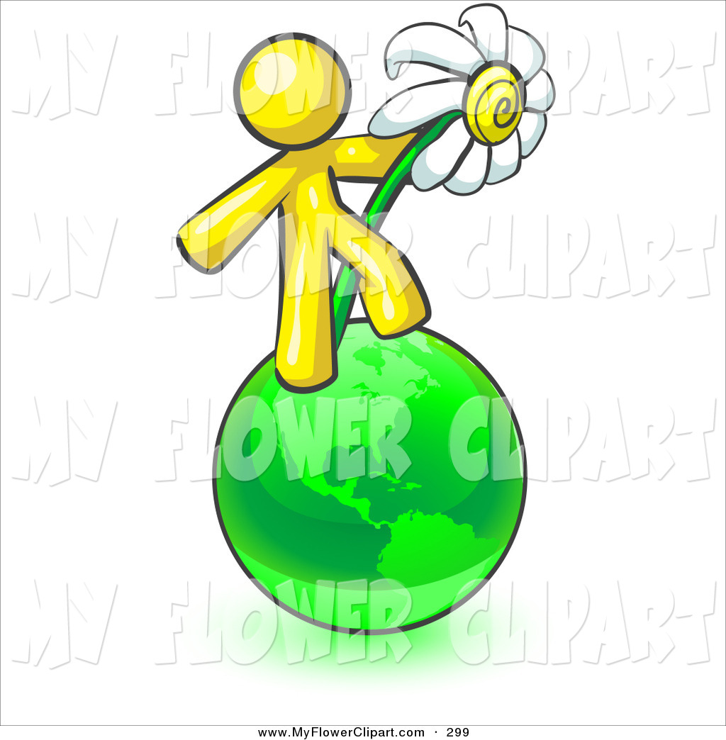 1024x1044 Clip Art Of A Caring Yellow Man Standing On The Green Planet Earth