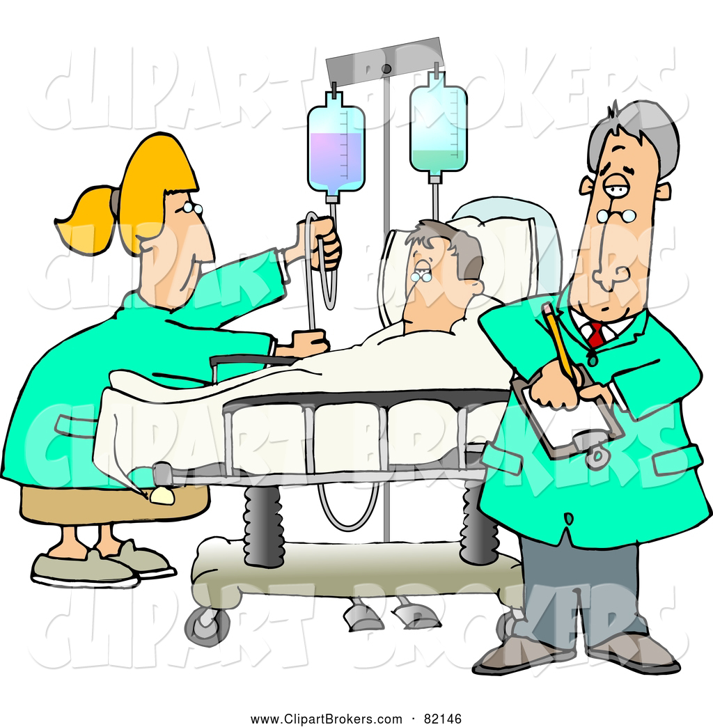 1024x1044 Clip Art Of A Helpful Nurse And Doctor Caring For A Hospitalized