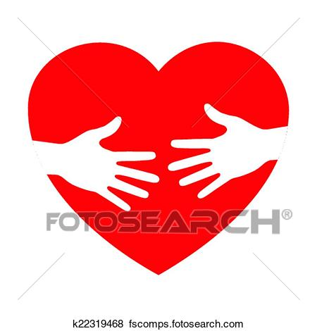 450x470 Clip Art Of Heart Icon With Caring Hands K22319468