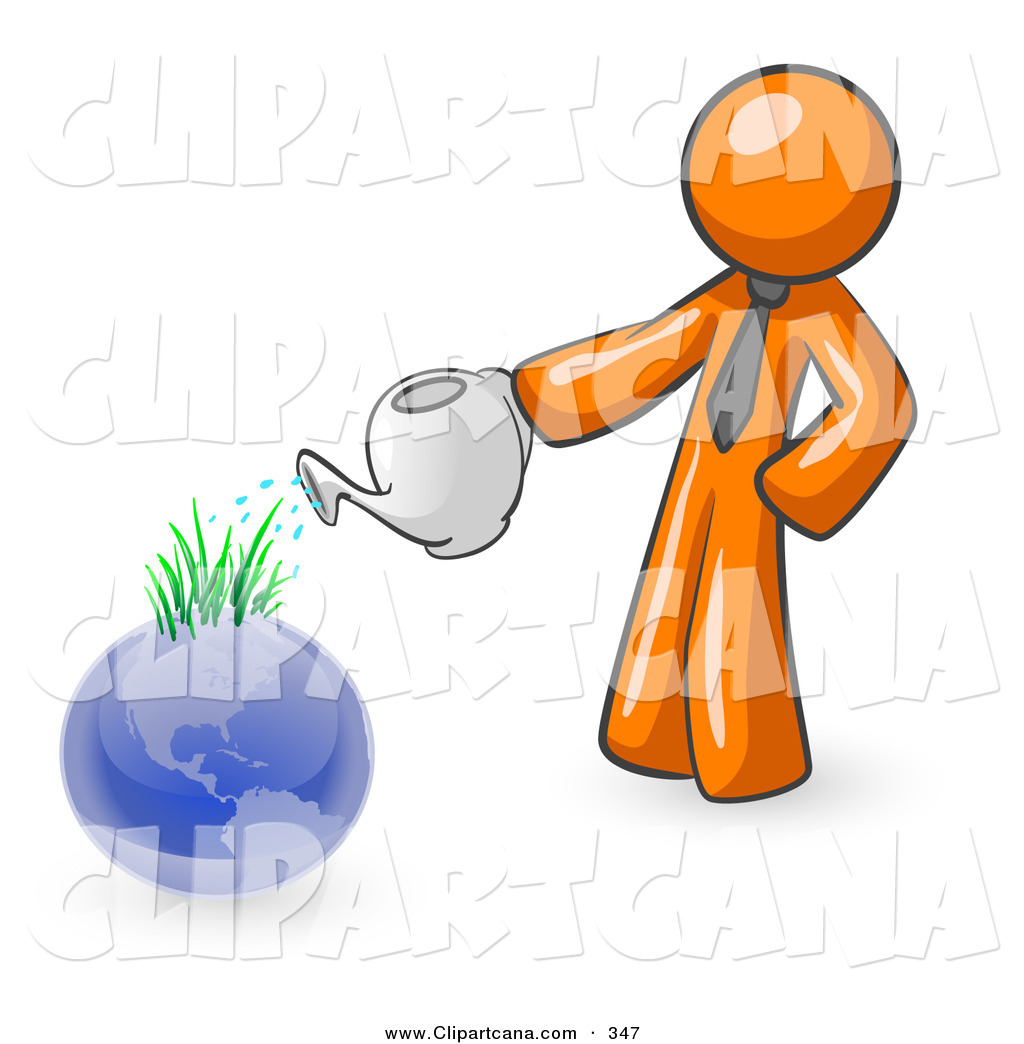 1024x1044 Vector Clip Art Of A Shiny Orange Man Using A Watering Can
